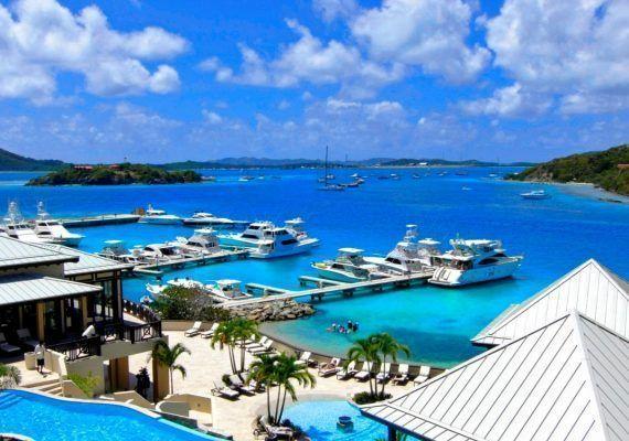 British Virgin Islands, SCRUB Island,  wide OVERVIEW pools to marina & sea